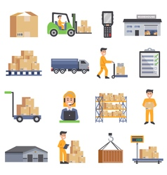 Warehouse Flat Icons Set vector image vector image
