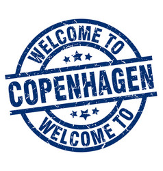 Welcome to copenhagen blue stamp vector