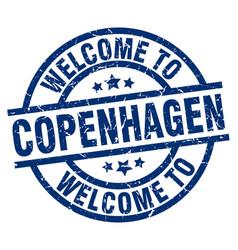 Welcome to copenhagen blue stamp vector