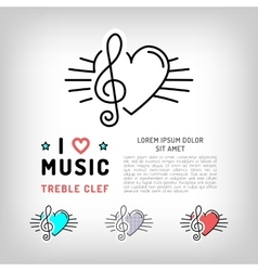 Treble clef icon musical note and heart vector