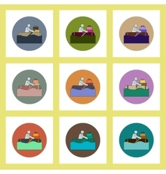 Flat icons set of man on raft in flood concept on vector