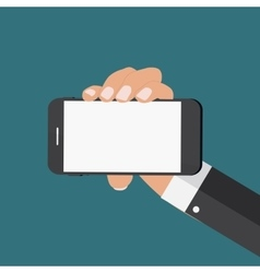 Hand with Abstract Mobile Phone Template in Modern vector image