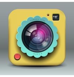 App design yellow photo camera icon vector