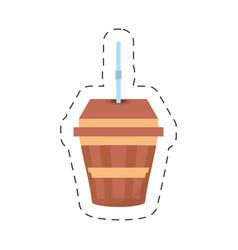 Fresh beverage plastic cup straw cut line vector