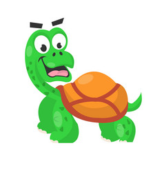 Smiling cute turtle isolated on white vector