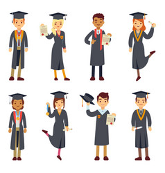 Young college graduate and university students vector