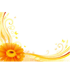 Autumn background with gerbera daisy flower vector