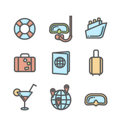 Summer vacation colored icons set 04 vector