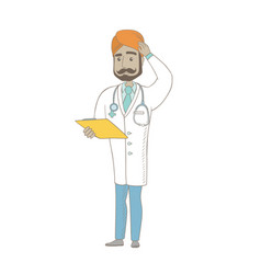 Young indian doctor scratching his head vector