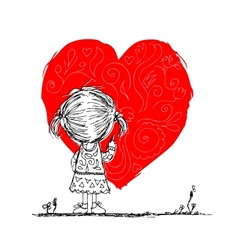 Girl draws red heart valentine card sketch for vector image