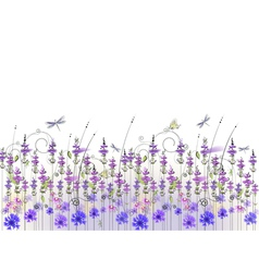 Floral background of wildflowers vector