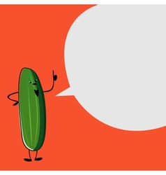 Green cucumber talking on a red background vector