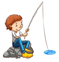 A simple drawing of a man fishing vector