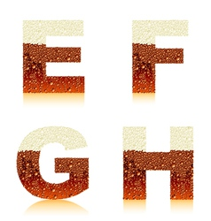 alphabet dark beer efgh vector image