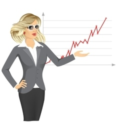 Businesswoman giving presentation vector