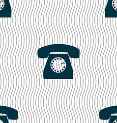 Retro telephone icon symbol seamless pattern with vector