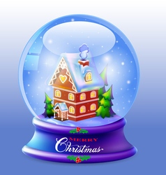 Christmas snow globe with a house vector