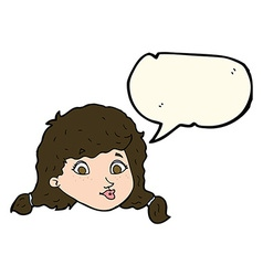 Cartoon pretty female face with speech bubble vector