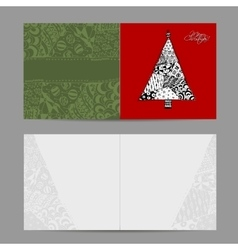 Christmas card doodle pattern tree for your vector