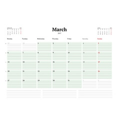 Calendar Template for 2017 Year March Business vector image