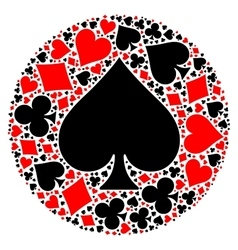 Poker playing cards suit mosaic vector image