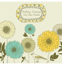 Retro sunflower birthday card vector