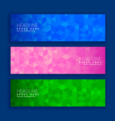 Abstract geometric triangle shapes banners in vector
