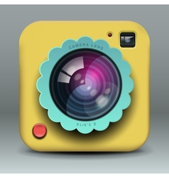 App design yellow photo camera icon vector image