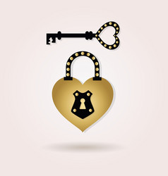 Black and golden abstract heart shape padlock vector