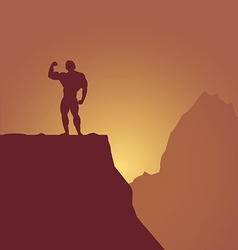 bodybuilder on mountain vector image