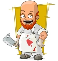 Cartoon crazy bald butcher in white apron vector