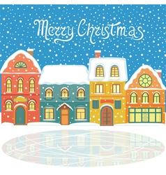 Christmas card with snowy houses vector