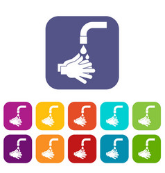 Cleaning hands icons set flat vector
