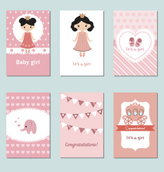 Collection of cute baby girl card collection of vector