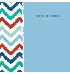Colorful ikat chevron frame square torn seamless vector