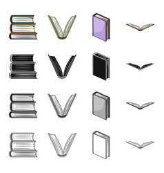 Different types of books literature textbook vector