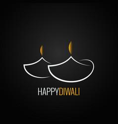 diwali lamp logo ornate design background vector image