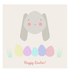 easter with rabbit and eggs vector image vector image