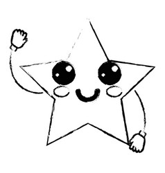 Figure kawaii cute happy star sparkly vector