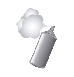 Gray aerosol spray metal with smoke paint vector