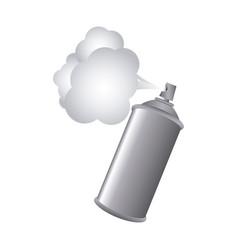 gray aerosol spray metal with smoke paint vector image vector image