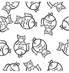Hand draw fish doodle style vector