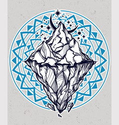 Hand drawn beautiful iceberg and moon vector
