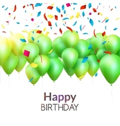 Happy birthday card with green balloons and vector