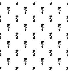Heart flower in a pot pattern vector