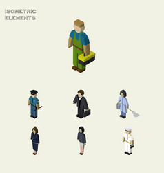 Isometric human set of girl seaman housemaid and vector