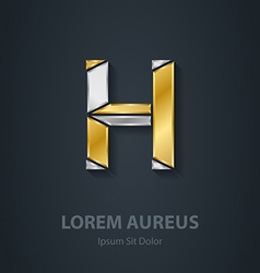 Letter h template for company logo 3d design vector