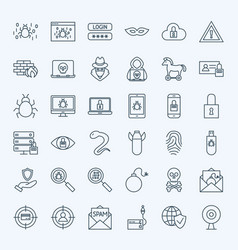 Line internet security icons vector