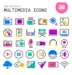 Multimedia linear icons collection vector