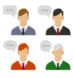 people talking icon set man with text bubbles vector image vector image